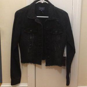 Black distressed jean jacket w/ removable faux fur
